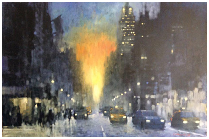 David Hinchliffe Winter Sunset, Winter Glory Manhattan
